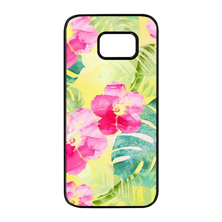 Tropical Dream Hibiscus Pattern Samsung Galaxy S7 edge Black Seamless Case