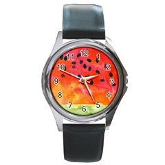 Abstract Watermelon Round Metal Watch by DanaeStudio