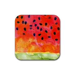 Abstract Watermelon Rubber Square Coaster (4 Pack)  by DanaeStudio