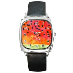 Abstract Watermelon Square Metal Watch by DanaeStudio