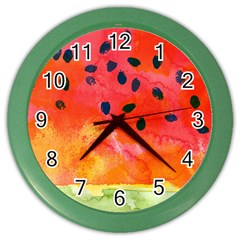Abstract Watermelon Color Wall Clocks by DanaeStudio