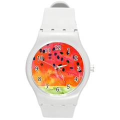 Abstract Watermelon Round Plastic Sport Watch (m) by DanaeStudio