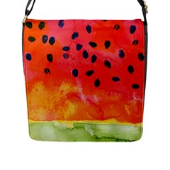 Abstract Watermelon Flap Messenger Bag (l)  by DanaeStudio