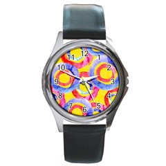 Blue And Pink Dream Round Metal Watch by DanaeStudio