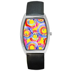 Blue And Pink Dream Barrel Style Metal Watch by DanaeStudio