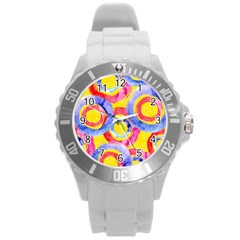 Blue And Pink Dream Round Plastic Sport Watch (l) by DanaeStudio
