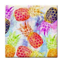 Colorful Pineapples Over A Blue Background Tile Coasters by DanaeStudio