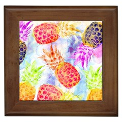 Colorful Pineapples Over A Blue Background Framed Tiles by DanaeStudio