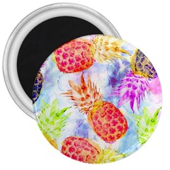 Colorful Pineapples Over A Blue Background 3  Magnets by DanaeStudio