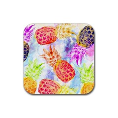 Colorful Pineapples Over A Blue Background Rubber Coaster (square)  by DanaeStudio