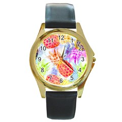 Colorful Pineapples Over A Blue Background Round Gold Metal Watch by DanaeStudio