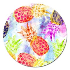 Colorful Pineapples Over A Blue Background Magnet 5  (round) by DanaeStudio