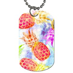 Colorful Pineapples Over A Blue Background Dog Tag (two Sides) by DanaeStudio