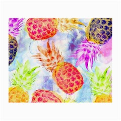 Colorful Pineapples Over A Blue Background Small Glasses Cloth by DanaeStudio