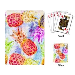 Colorful Pineapples Over A Blue Background Playing Card by DanaeStudio