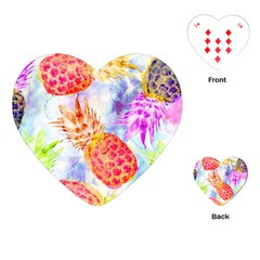 Colorful Pineapples Over A Blue Background Playing Cards (heart)  by DanaeStudio