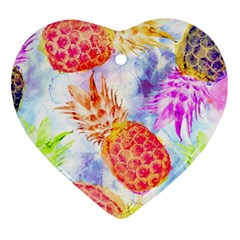 Colorful Pineapples Over A Blue Background Heart Ornament (2 Sides) by DanaeStudio