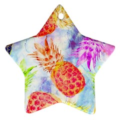 Colorful Pineapples Over A Blue Background Star Ornament (two Sides)  by DanaeStudio