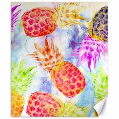 Colorful Pineapples Over A Blue Background Canvas 8  X 10  by DanaeStudio
