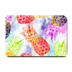 Colorful Pineapples Over A Blue Background Small Doormat  by DanaeStudio