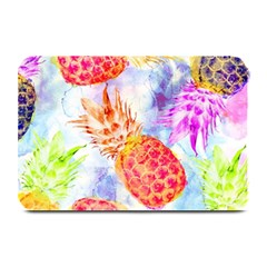 Colorful Pineapples Over A Blue Background Plate Mats by DanaeStudio