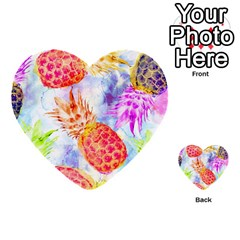 Colorful Pineapples Over A Blue Background Multi Purpose Cards (heart)  by DanaeStudio
