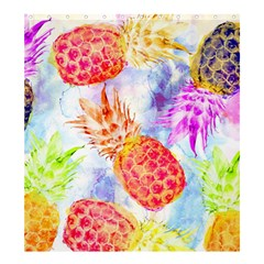 Colorful Pineapples Over A Blue Background Shower Curtain 66  X 72  (large)  by DanaeStudio
