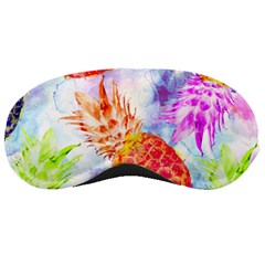 Colorful Pineapples Over A Blue Background Sleeping Masks by DanaeStudio