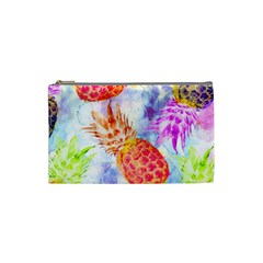 Colorful Pineapples Over A Blue Background Cosmetic Bag (small)  by DanaeStudio