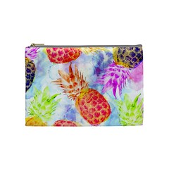 Colorful Pineapples Over A Blue Background Cosmetic Bag (medium)  by DanaeStudio
