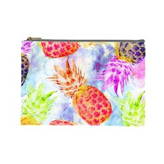 Colorful Pineapples Over A Blue Background Cosmetic Bag (large)  by DanaeStudio