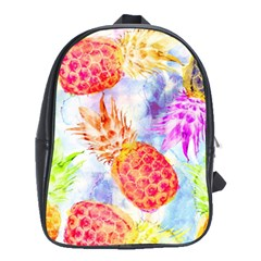 Colorful Pineapples Over A Blue Background School Bags(large)  by DanaeStudio