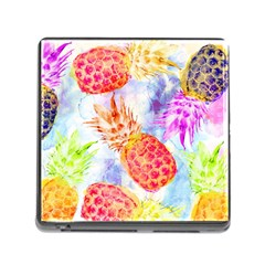 Colorful Pineapples Over A Blue Background Memory Card Reader (square) by DanaeStudio