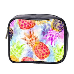Colorful Pineapples Over A Blue Background Mini Toiletries Bag 2 Side by DanaeStudio