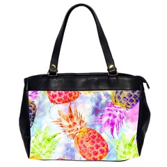 Colorful Pineapples Over A Blue Background Office Handbags (2 Sides)  by DanaeStudio