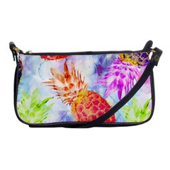 Colorful Pineapples Over A Blue Background Shoulder Clutch Bags by DanaeStudio