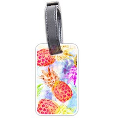 Colorful Pineapples Over A Blue Background Luggage Tags (one Side)  by DanaeStudio