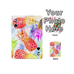 Colorful Pineapples Over A Blue Background Playing Cards 54 (mini)  by DanaeStudio