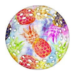 Colorful Pineapples Over A Blue Background Round Filigree Ornament (2side) by DanaeStudio