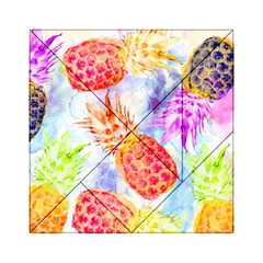 Colorful Pineapples Over A Blue Background Acrylic Tangram Puzzle (6  X 6 ) by DanaeStudio