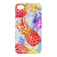 Colorful Pineapples Over A Blue Background Apple Iphone 4/4s Premium Hardshell Case by DanaeStudio