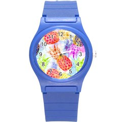 Colorful Pineapples Over A Blue Background Round Plastic Sport Watch (s) by DanaeStudio