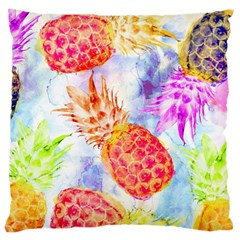 Colorful Pineapples Over A Blue Background Large Cushion Case (two Sides) by DanaeStudio