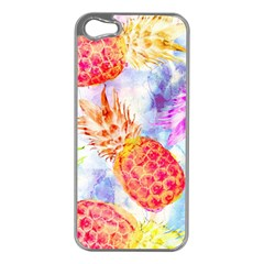 Colorful Pineapples Over A Blue Background Apple Iphone 5 Case (silver) by DanaeStudio