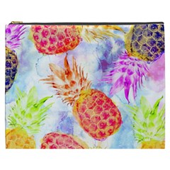 Colorful Pineapples Over A Blue Background Cosmetic Bag (xxxl)  by DanaeStudio