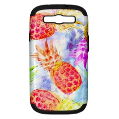 Colorful Pineapples Over A Blue Background Samsung Galaxy S Iii Hardshell Case (pc+silicone) by DanaeStudio