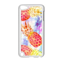Colorful Pineapples Over A Blue Background Apple Ipod Touch 5 Case (white) by DanaeStudio