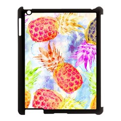 Colorful Pineapples Over A Blue Background Apple Ipad 3/4 Case (black) by DanaeStudio