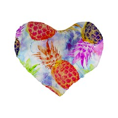 Colorful Pineapples Over A Blue Background Standard 16  Premium Heart Shape Cushions