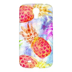 Colorful Pineapples Over A Blue Background Samsung Galaxy S4 I9500/i9505 Hardshell Case by DanaeStudio